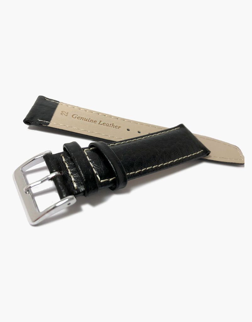 LUX Black Leather Buffalo Grain Padded Shiny Watch Band w/ White Stitching