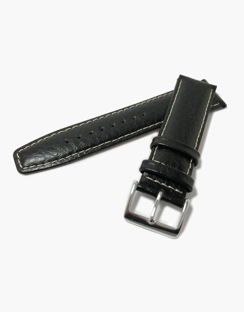 Black Leather Buffalo Grain Padded Shiny Watch Strap