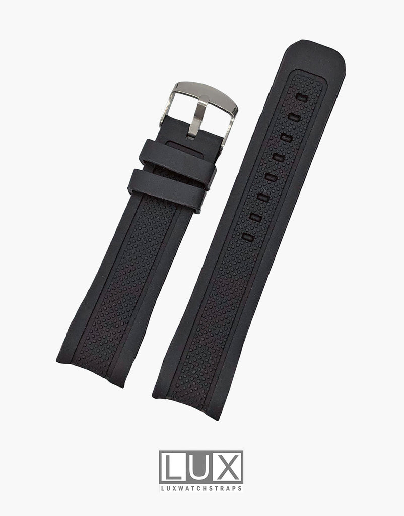 Black Smooth Silicone Rubber Dive Watch Strap with Curved End