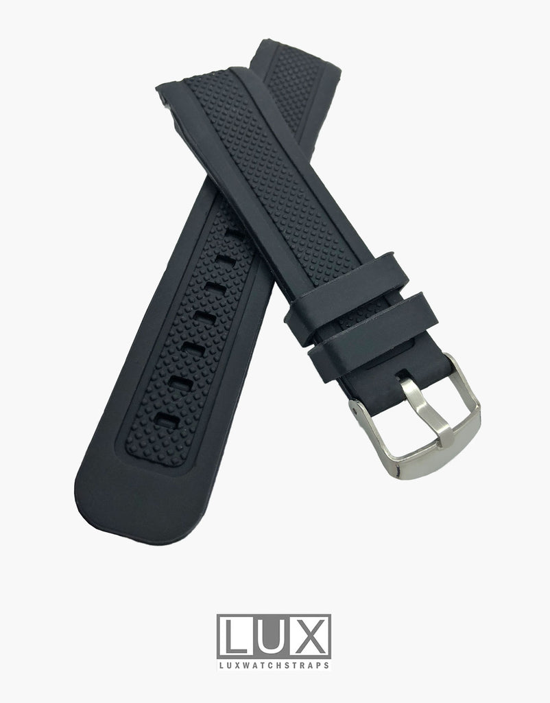 LUX Smooth Silicone Rubber Dive Watch Strap with Curved End