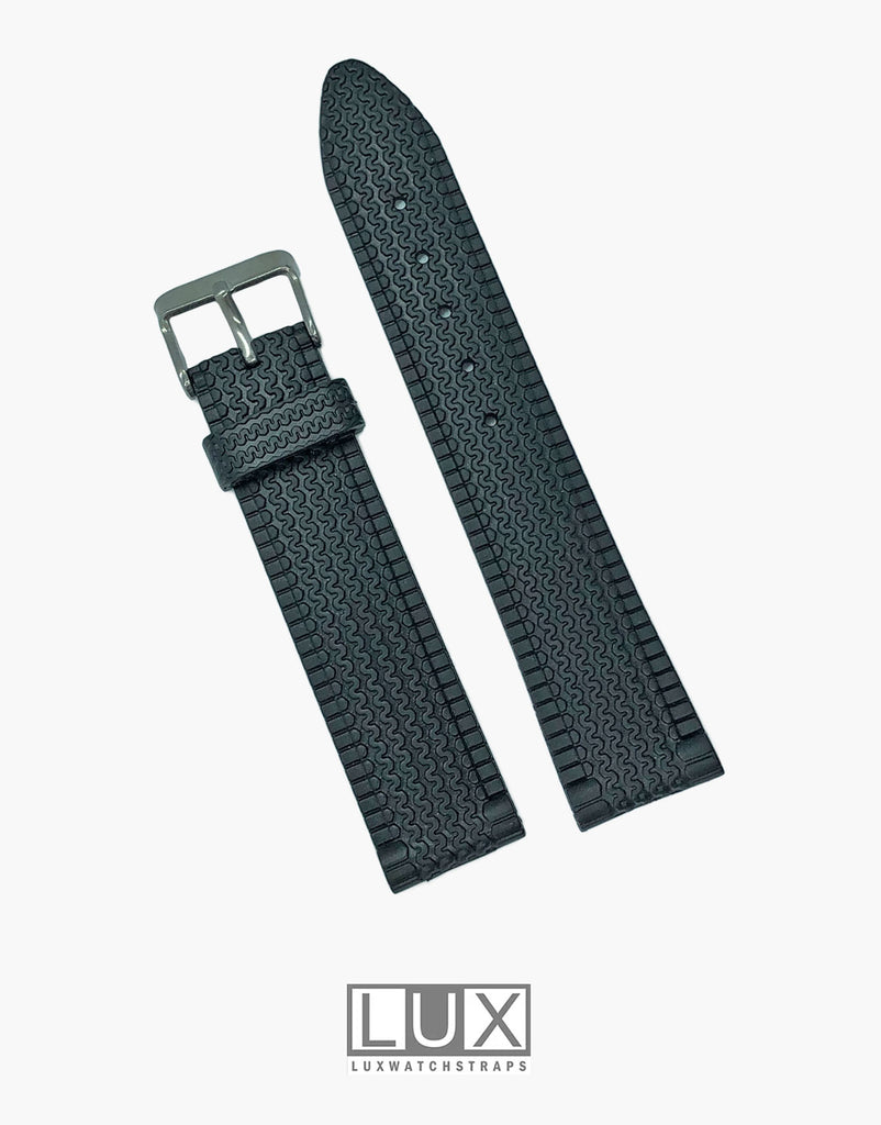 Seiko Style Racing Tread Design Black Dive Watch Strap