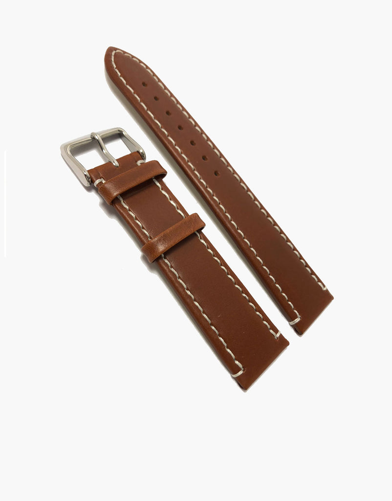 Brown Genuine Calf Skin Italian Leather Watch Band Oil Tanned