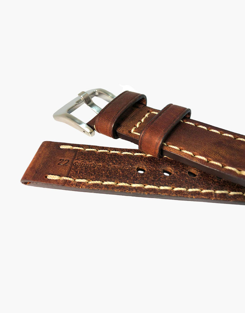 LUX Brown Oil Tanned Leather Watch Band Flat Thick Vintage White Stitching