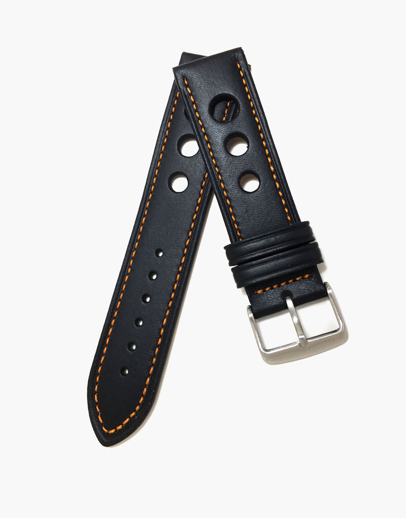 Calf Leather Black Watch Strap with Orange Stitching - LUX Grand Prix Rally
