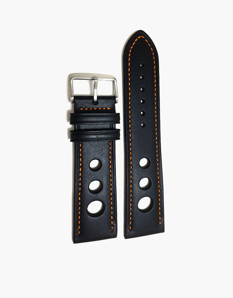 Calf Leather Black Watch Strap with Orange Stitching
