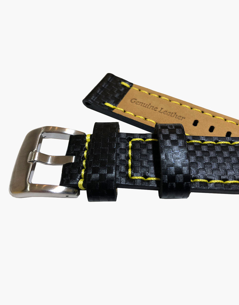 Carbon Fiber Black Leather Embossed Watch Bands-Yellow Stitching by LUX