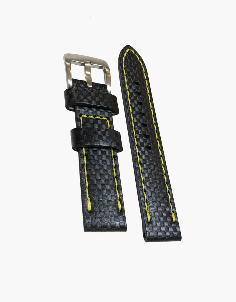 Carbon Fiber Black Leather Embossed Watch Strap