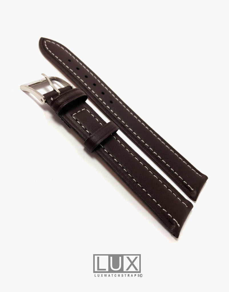 Genuine Smooth Dark Brown Smooth Oil Tanned Leather Extra Long Watch Strap Band