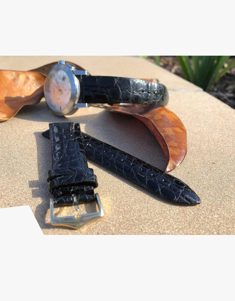 Genuine Crocodile Black Shine Exotic Skin Watch Bands by LUX
