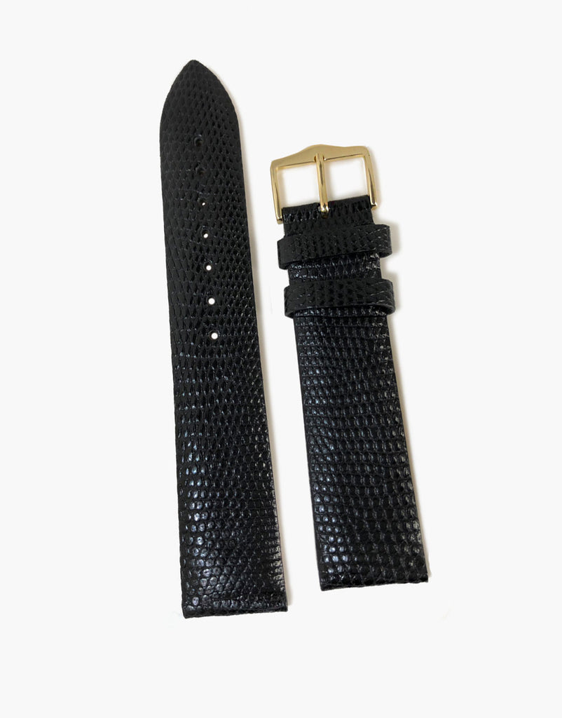 Genuine Lizard Black High-Shiny Watch Strap