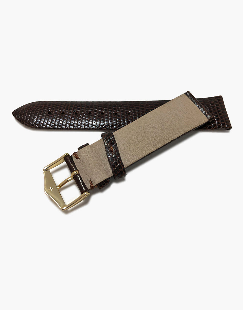 Genuine Lizard Dark-Brown High-Shiny skin Watch Straps by LUX