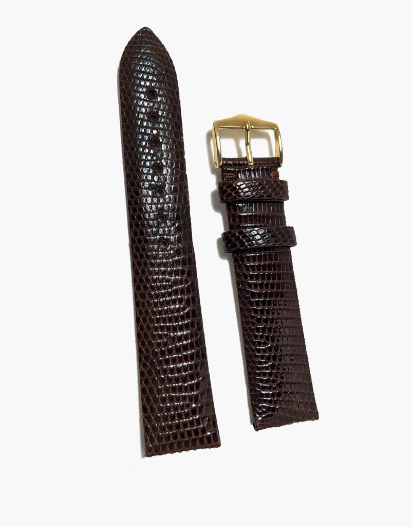 Genuine Lizard Dark-Brown High-Shiny skin Watch Strap