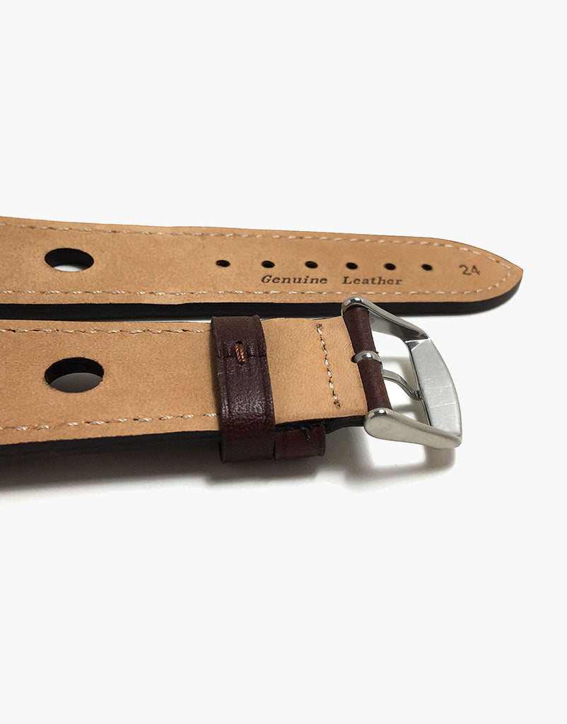 LUX Grand Prix Rally Calf Leather Strap Brown with Brown Stitching