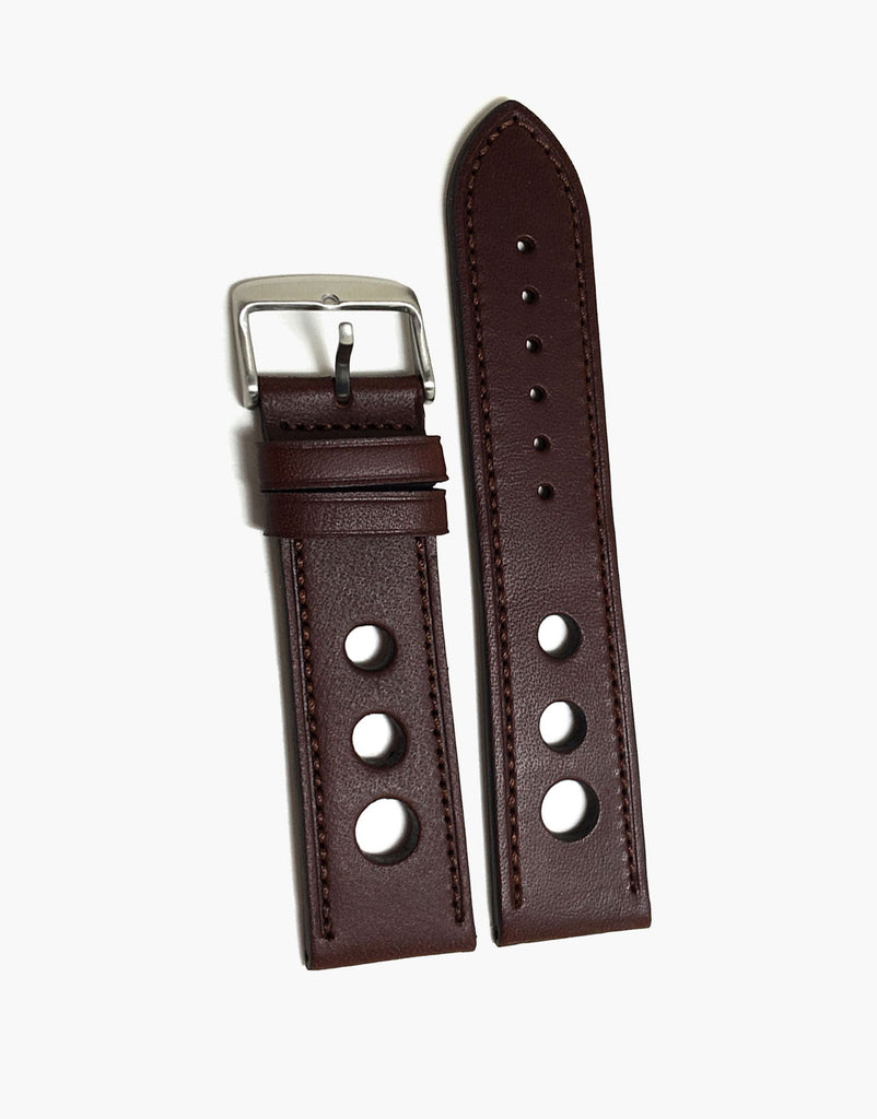 Grand Prix Rally Calf Leather Brown Watch Strap