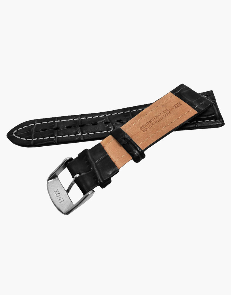 Black Hadley-Roma MS895 Alligator Grain Leather Watch Band-Water Resistant