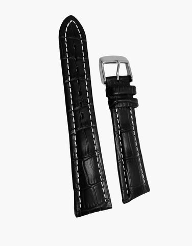 Hadley-Roma Alligator Grain Leather Black Watch Band