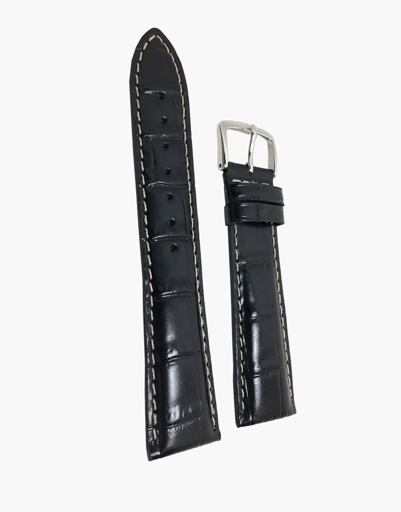 Hadley-Roma Black Leather Alligator Grain Watch Strap