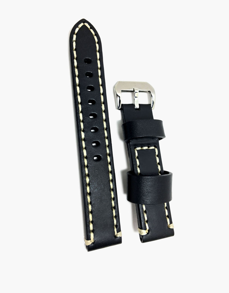 Hadley-Roma Black Vintage Calf Leather Watch Strap