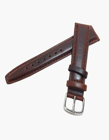 Brown Short Hadley-Roma Italian Calfskin Oil tanned leather watch strap