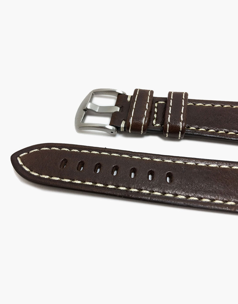 Hadley Roma MS2040 Brown Leather - White-Stitching