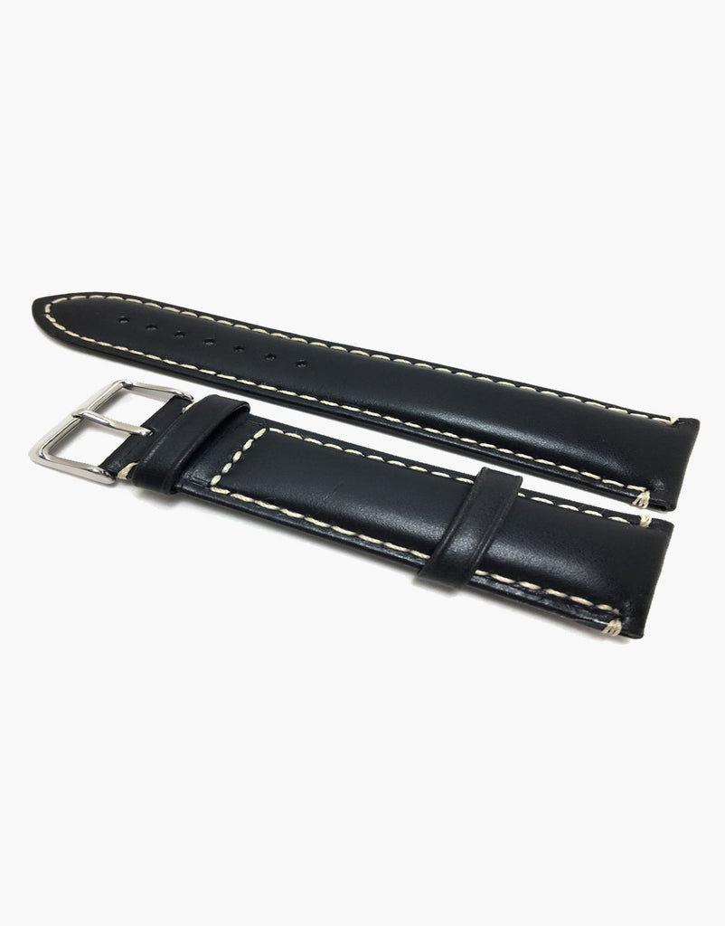 Hadley-Roma MS885 Watch Band Black Oil Tanned Leather White Contrast Stitching