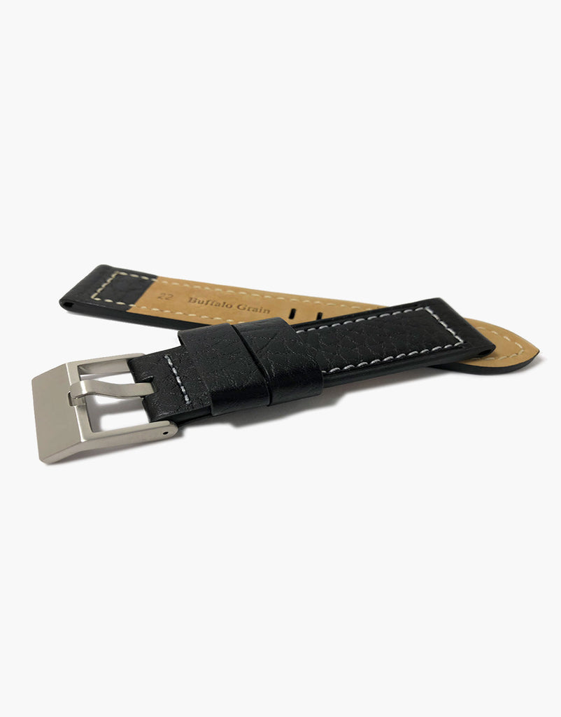 LUX Heavy Flat Buffalo Leather Black with White Stitching Strap