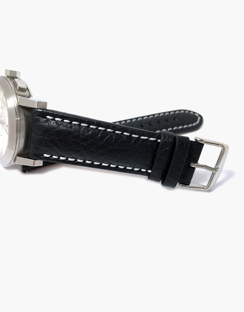 Lux Italian Buffalo Milano Padded Watch Band Black W/white Stitching