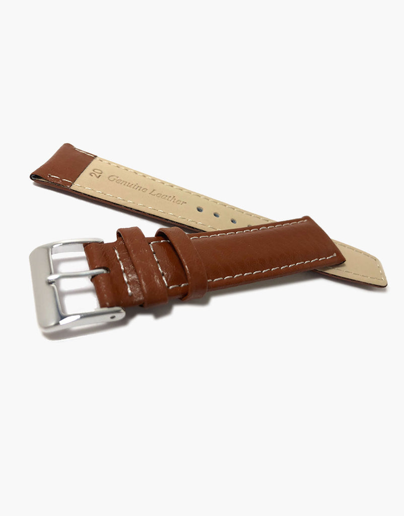 LUX Light Brown Buffalo Grain Padded Watch Band w/ White Stitching