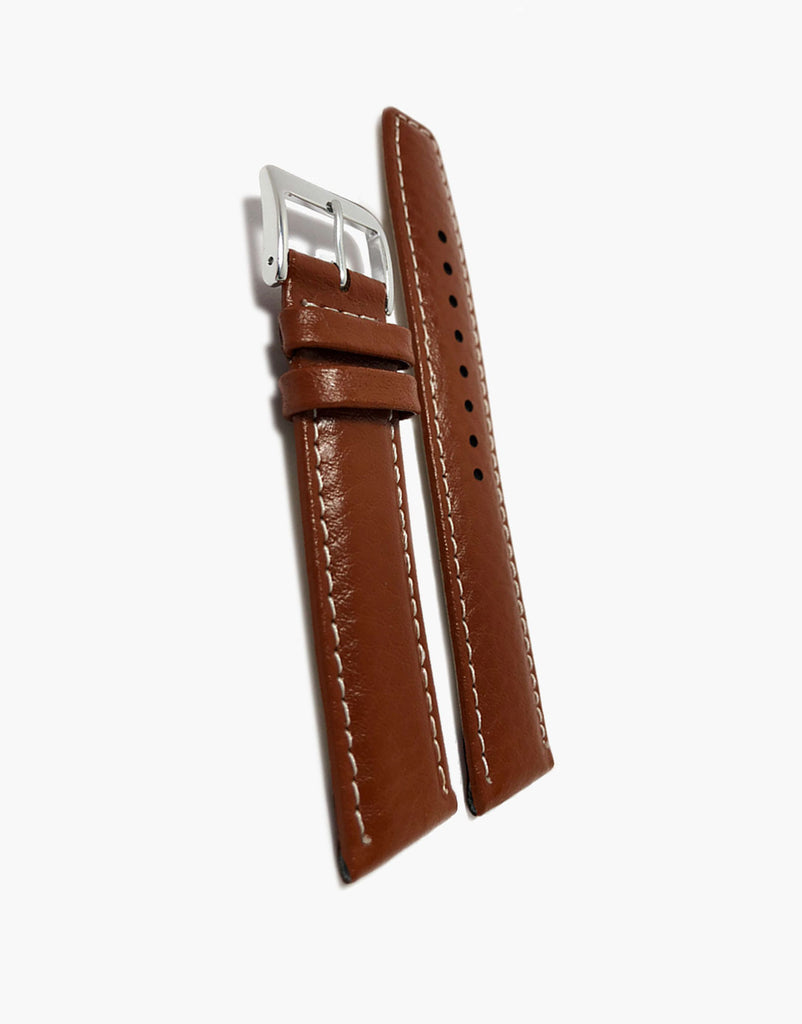 Light Brown Buffalo Grain Padded Watch Strap