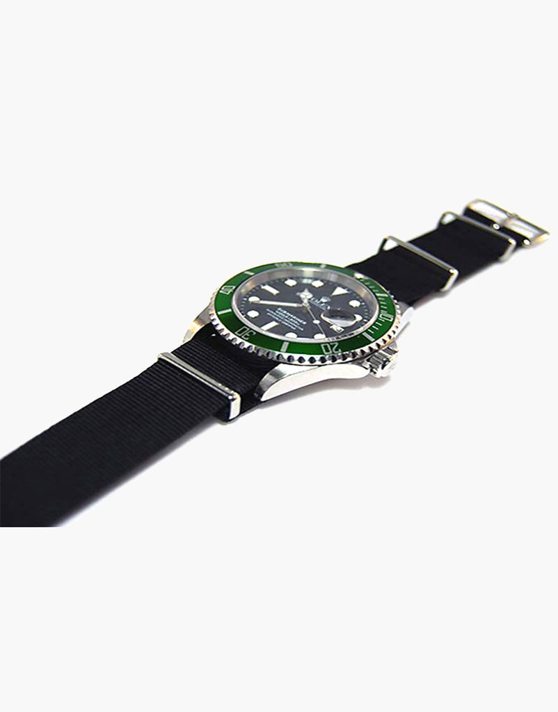 NATO Style Black Nylon Strap with Stainless Steel by LUX