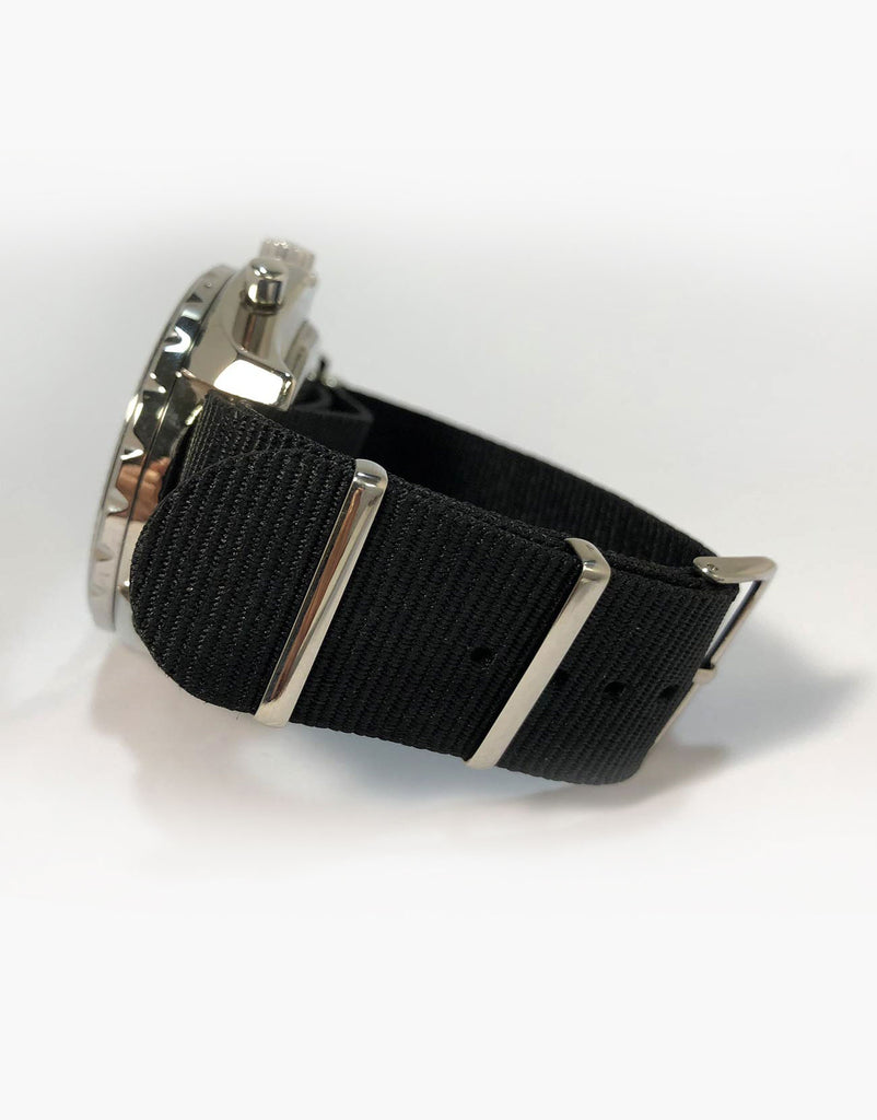 NATO Style Black Nylon Strap Stainless Steel