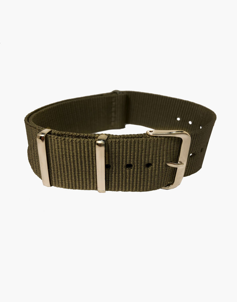 NATO Style Military Olive Green Nylon Watch Strap