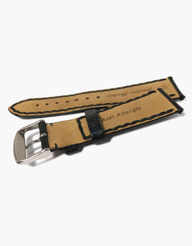 LUX Napoli Buffalo Calf Leather Padded Black Watch band