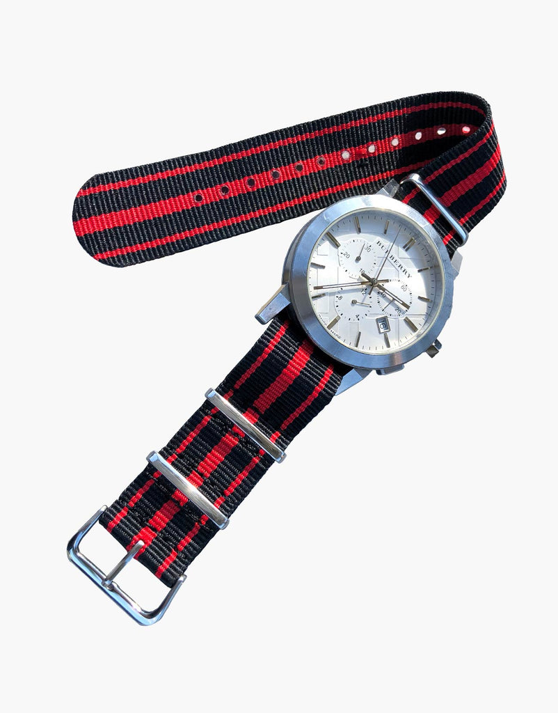 Red Nylon 3 Stripes NATO Style Watch Bands