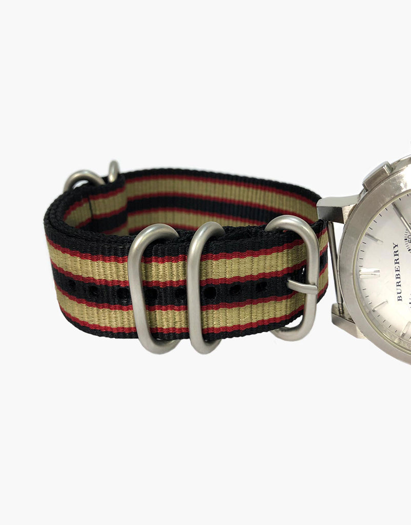 BOND Nylon N.A.T.O Burgundy Khaki-Red-Black  Watch Straps by LUX