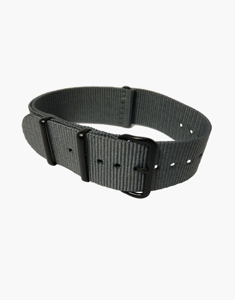Nylon NATO Gray Watch Bands with Black Buckles PVD  by LUX