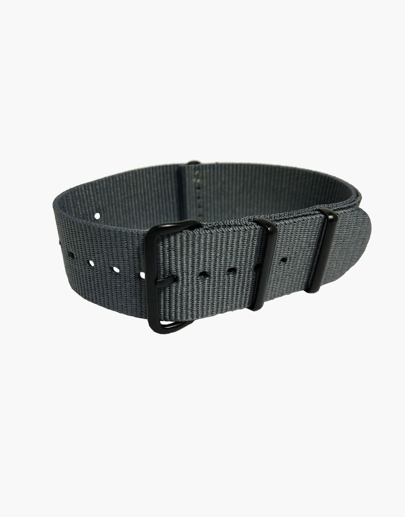 Nylon NATO Grey Watch Strap Black Buckle