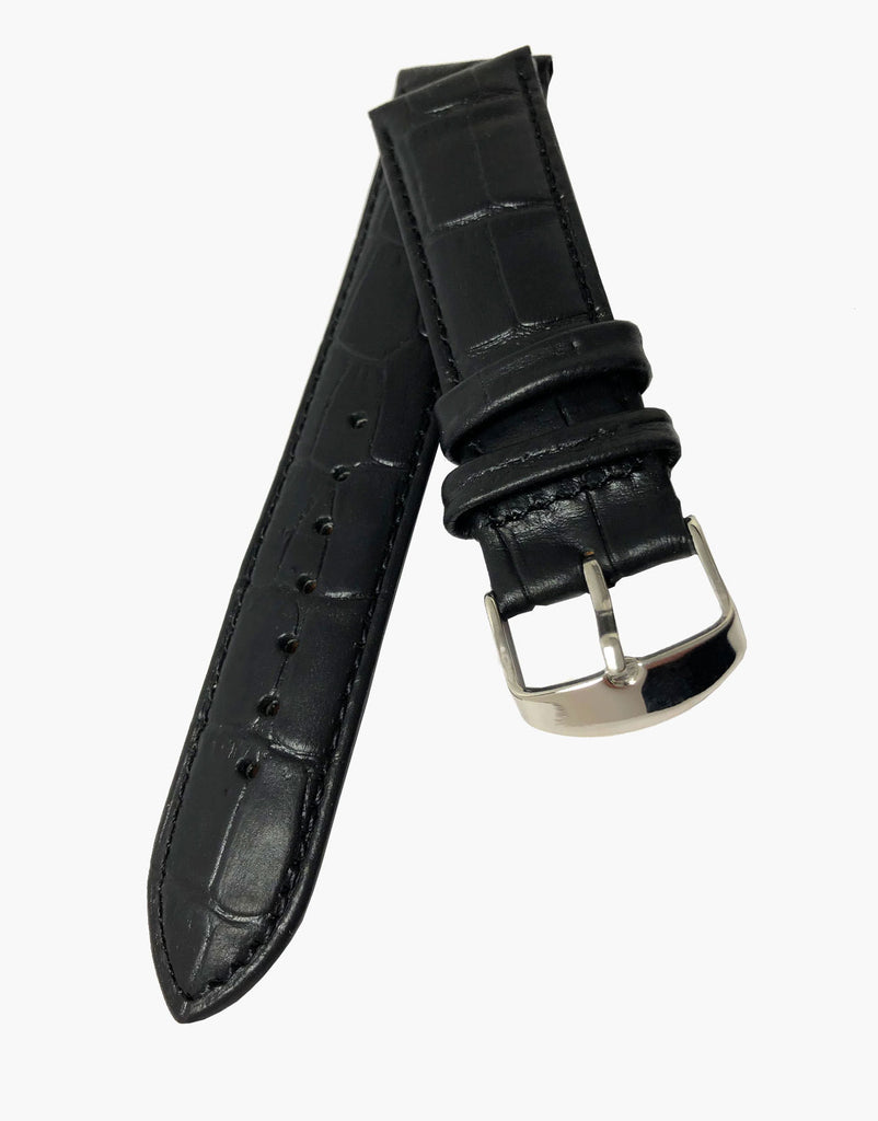 Padded Black Calf Leather Alligator Grain Watch Strap