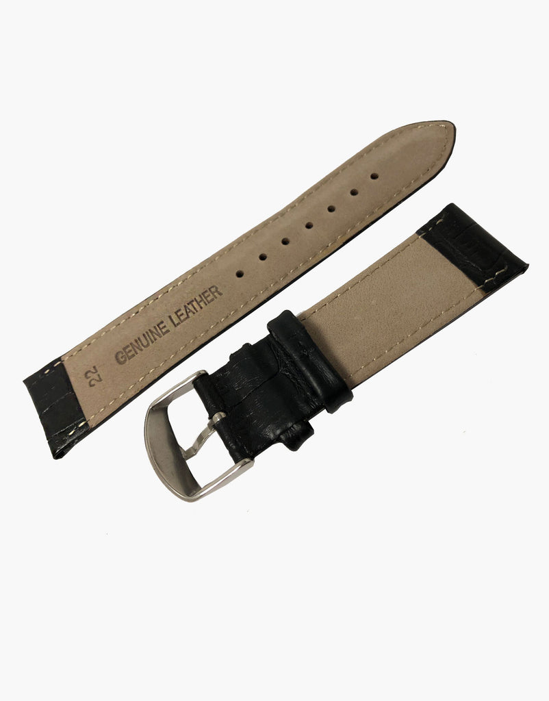 LUX Padded Black Calf Leather Alligator Grain Watch Strap