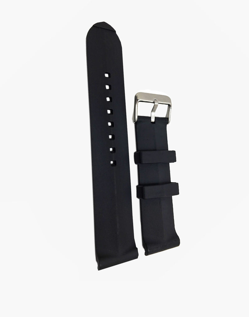 Rubber Hadley Roma Black Dive Watch Band