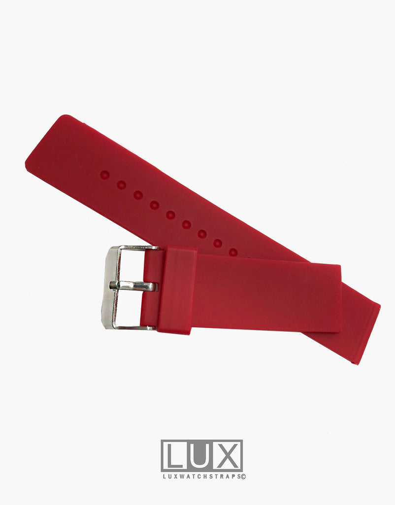LUX Silicone Rubber Dive Watch Strap Red Flat