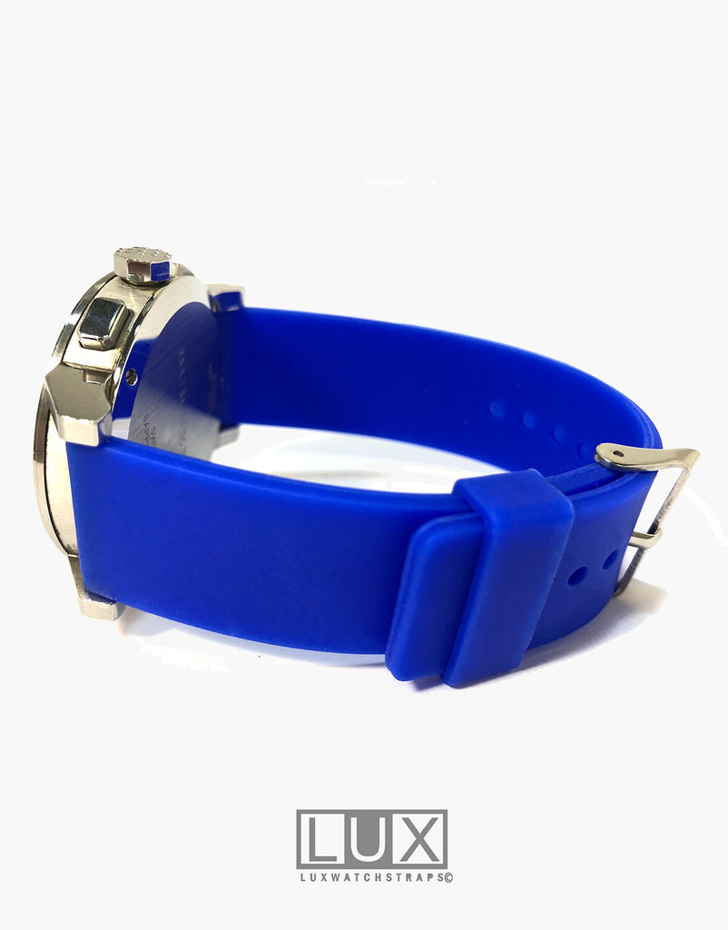 LUX Silicone Rubber Dive Watch Strap Blue Flat
