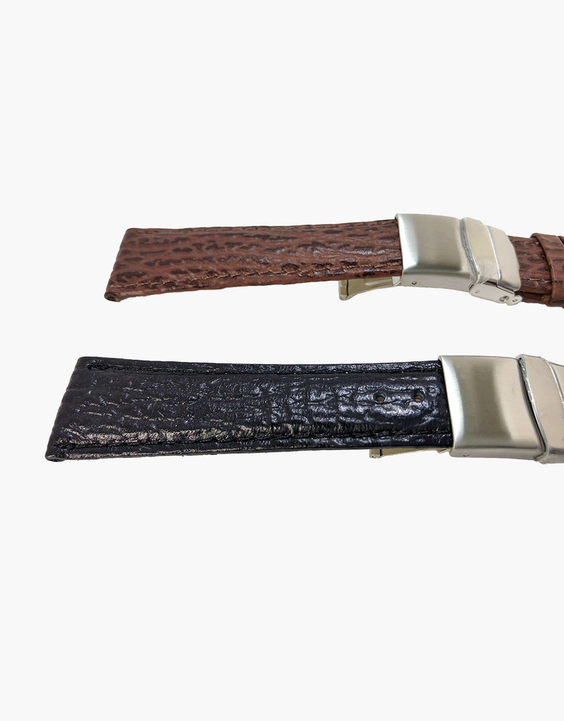 Shark Calf Leather grain Embossed Watch Band Strap Butterfly Clasp