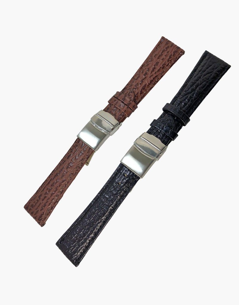 Shark Calf Leather grain Embossed Watch Band Strap