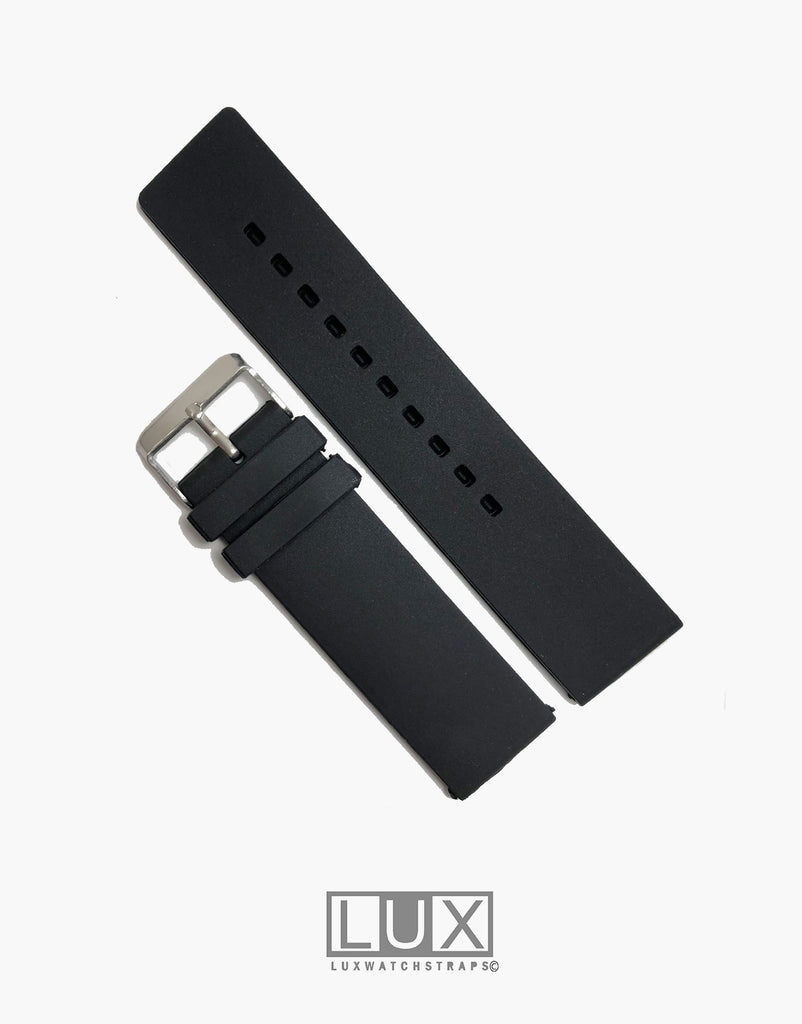 Silicone Rubber Dive Watch Strap Black Flat