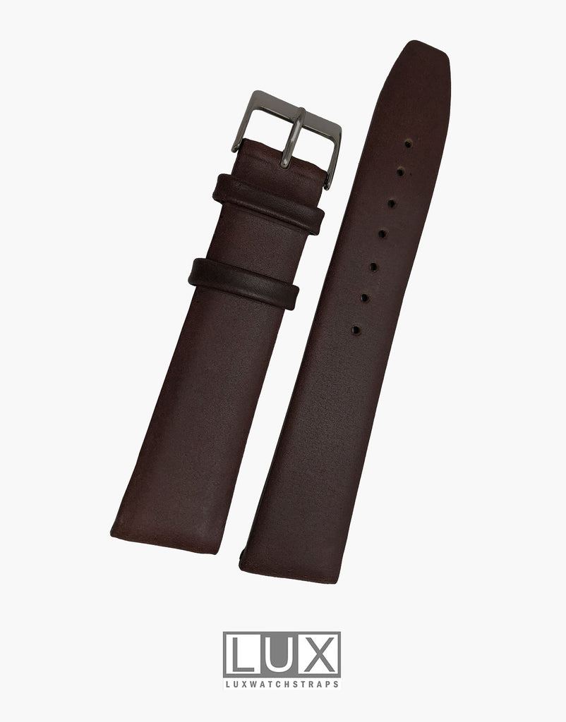 Smooth Dark Brown Flat Leather Watch Strap Band  Movado Style