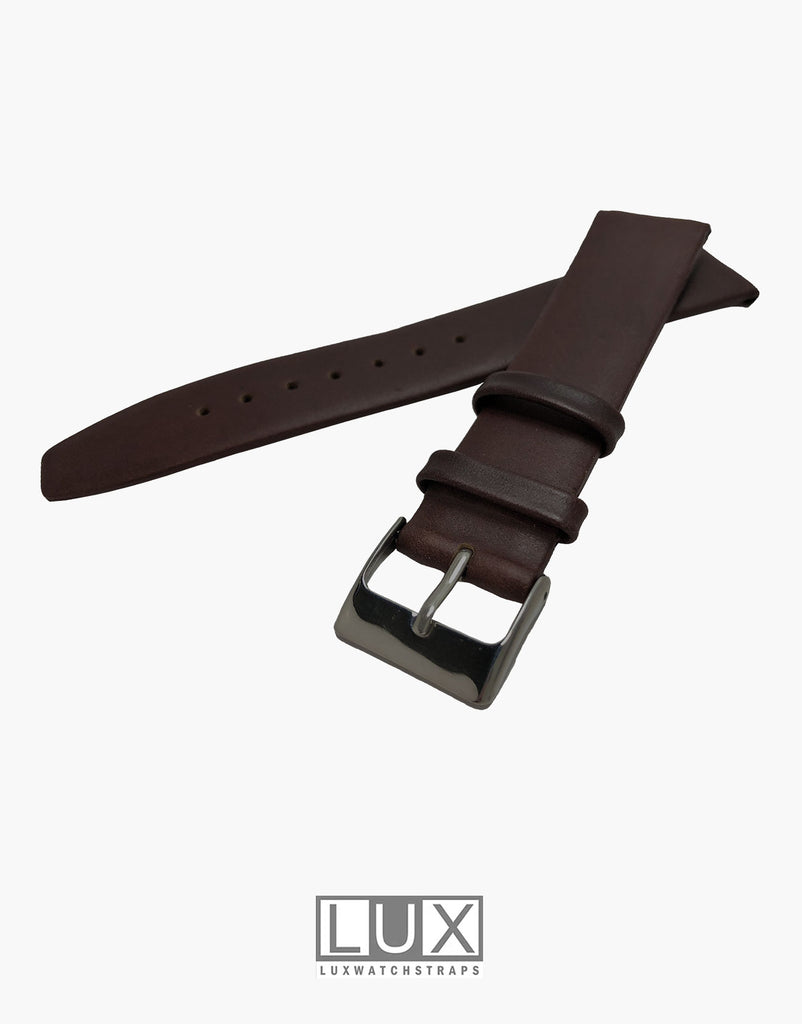 LUX Smooth Dark Brown Flat Leather Watch Strap Band  Movado Style