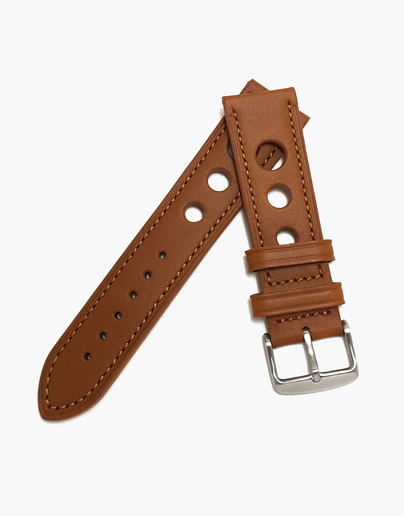 LUX Grand Prix Rally Genuine Calf Leather Vintage Strap Tan with Tan Stitching