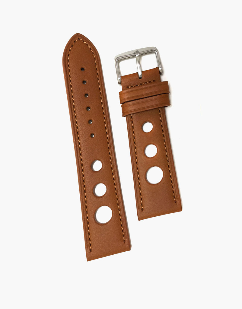Tan Grand Prix Rally Calf Leather Watch Strap