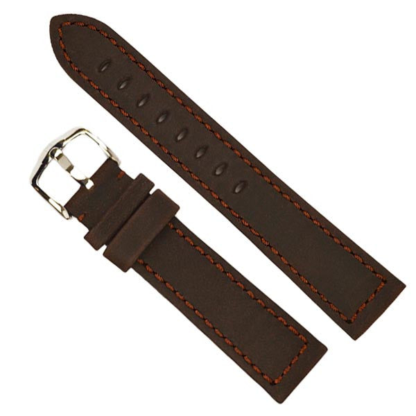 Hirsch Terra Brown Artisan Calf Leather Watch Band w/ matching stiching
